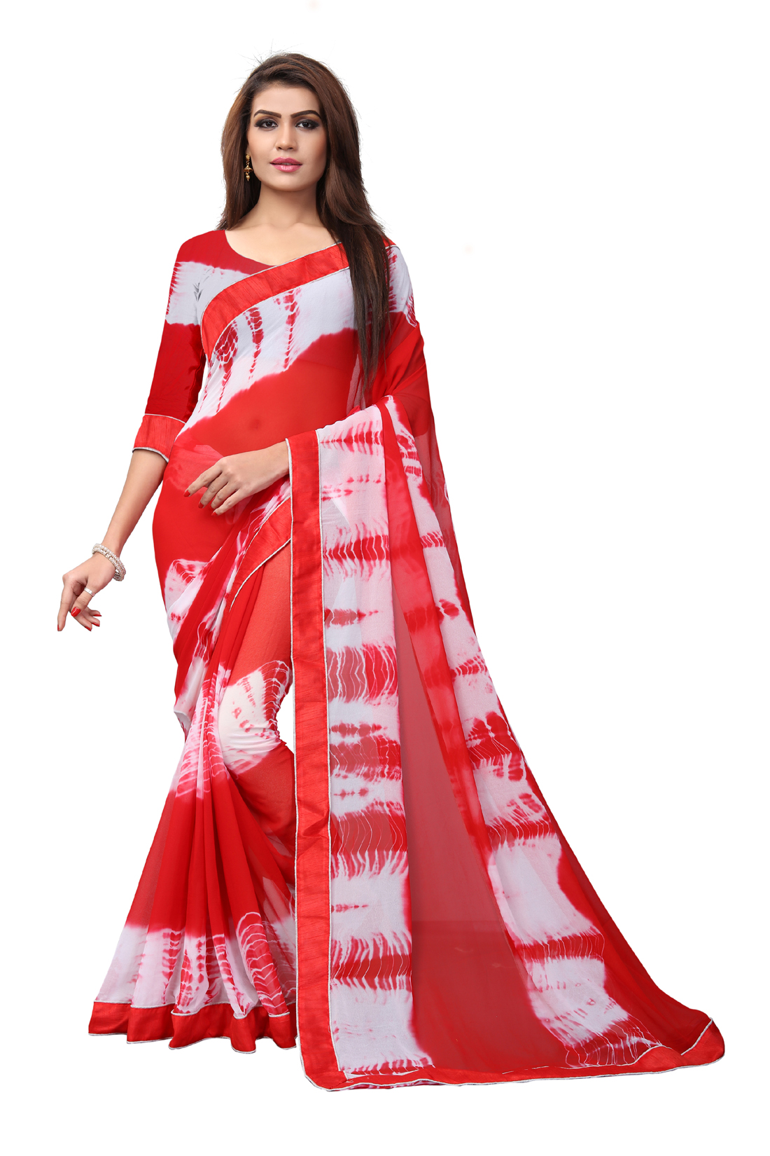 Desinger Red Georgette Printed Saree 2019