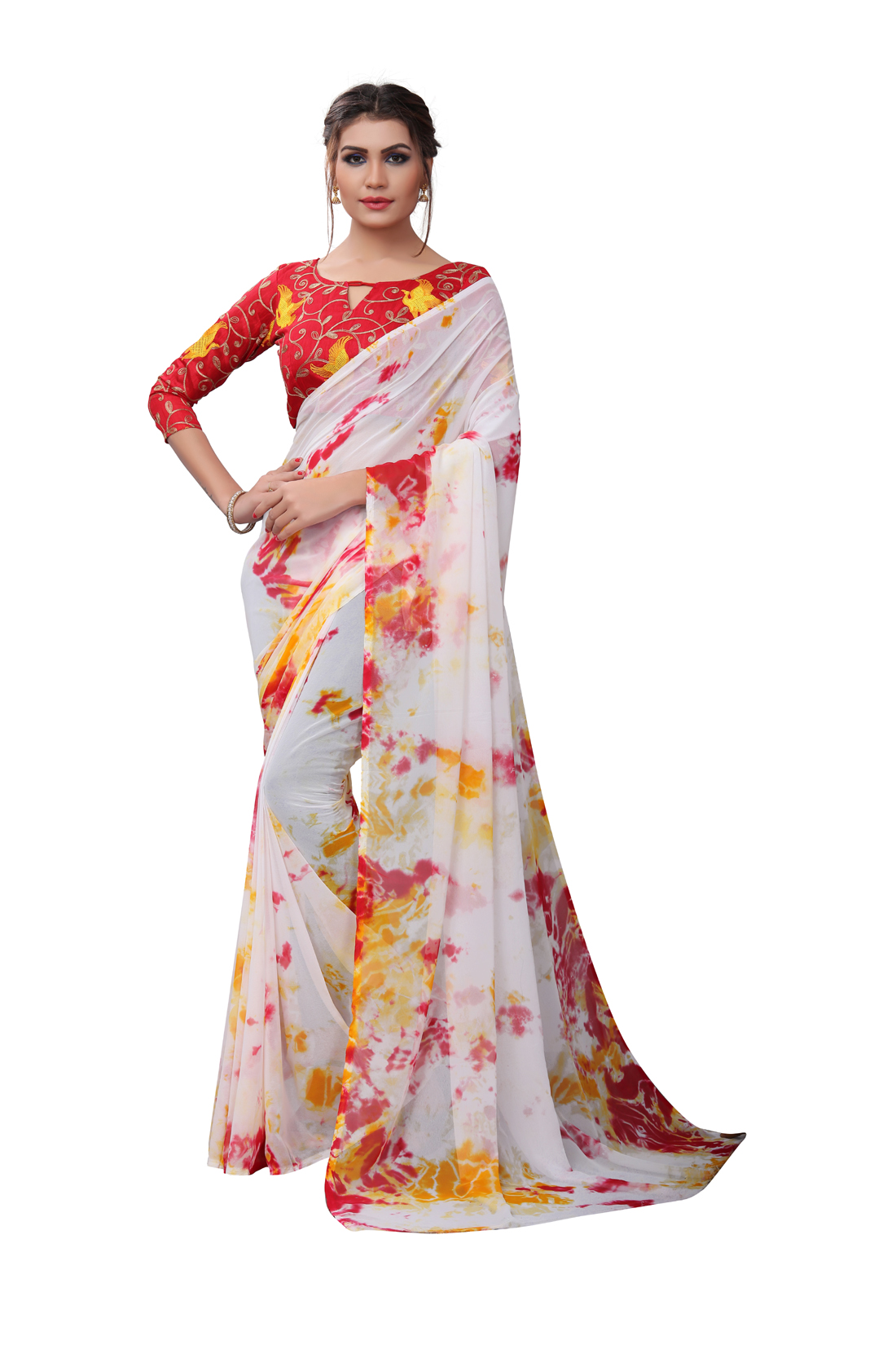 Latest Yellow And Multicolor Georgette Printed Saree