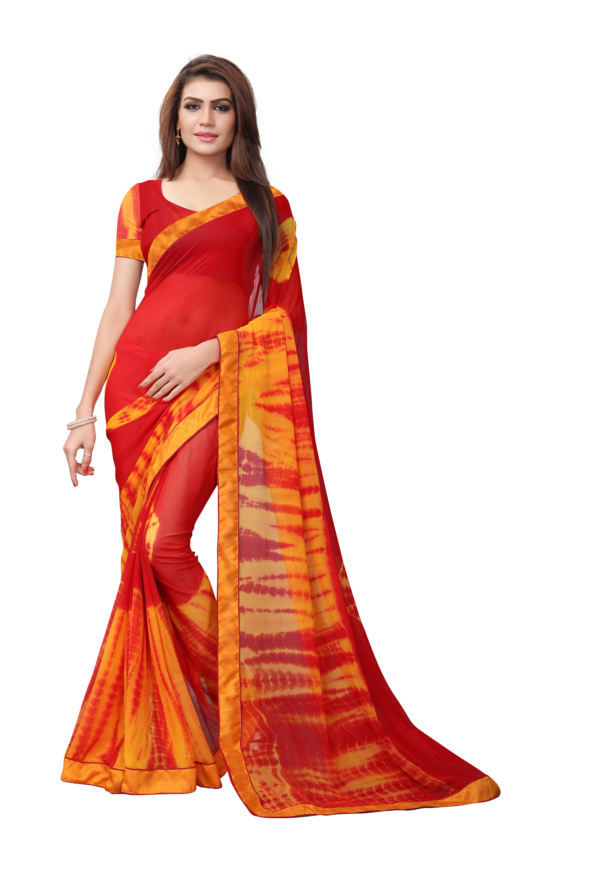 Latest Red And Orange Georgette Printed Saree
