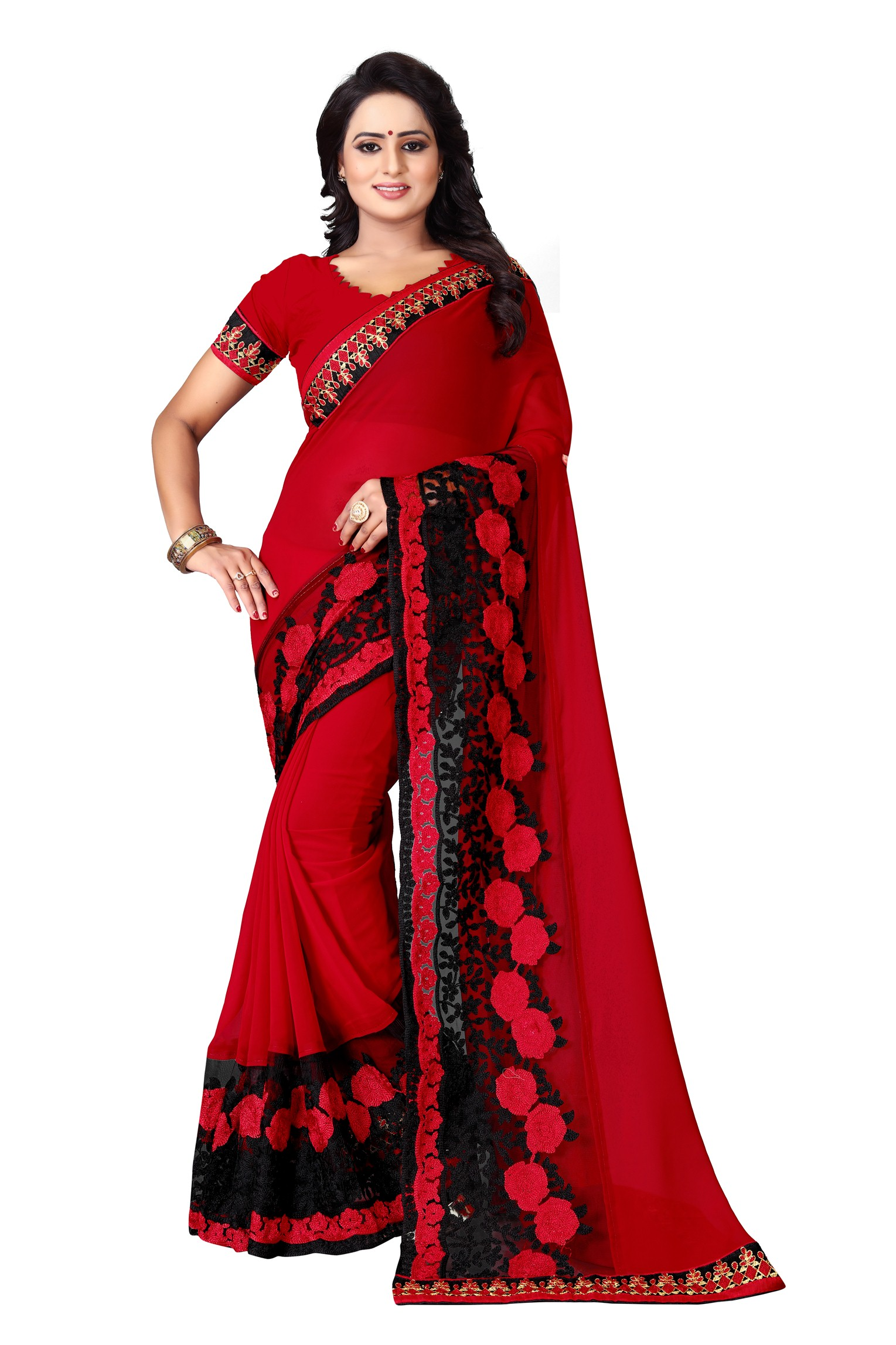 Latest Red Embroidered Georgette Saree