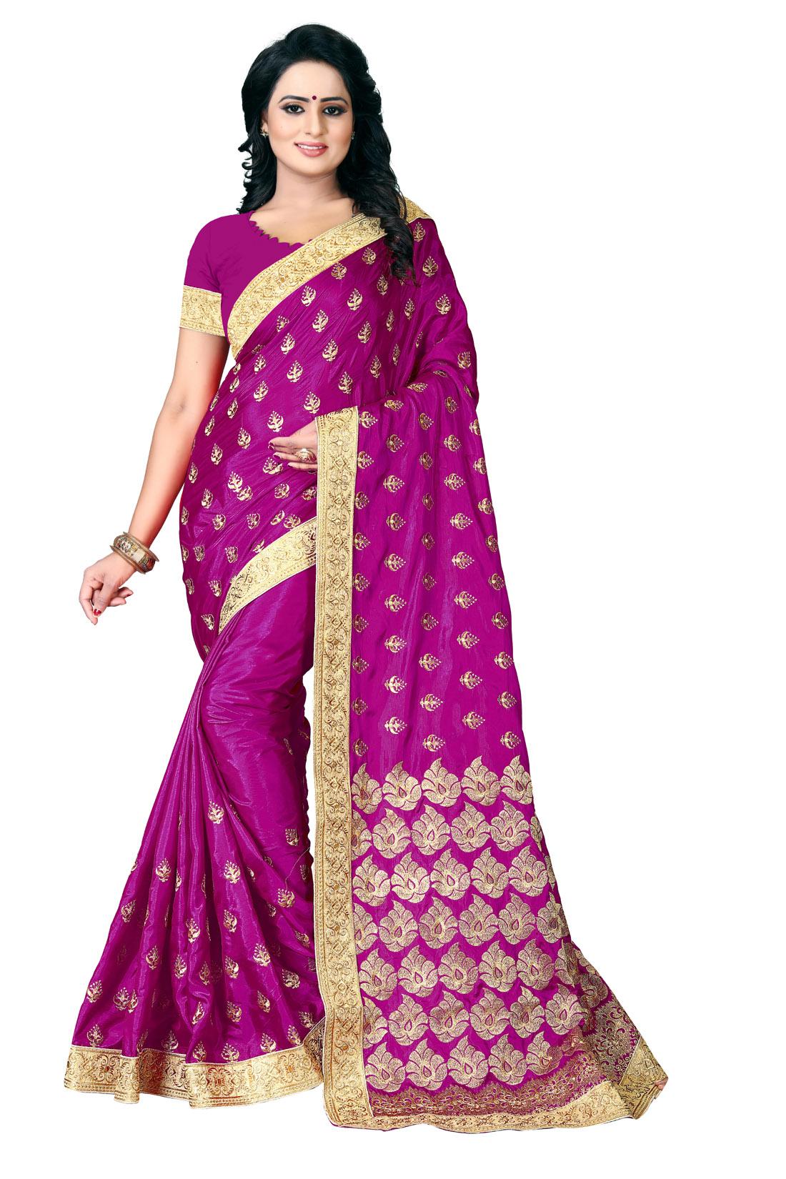 Latest Pink Embroidered Silk Saree