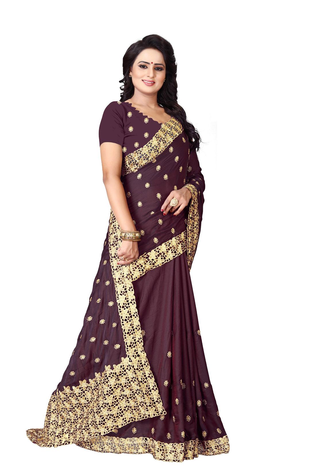 Latest Brown Embroidered Silk Saree 2019