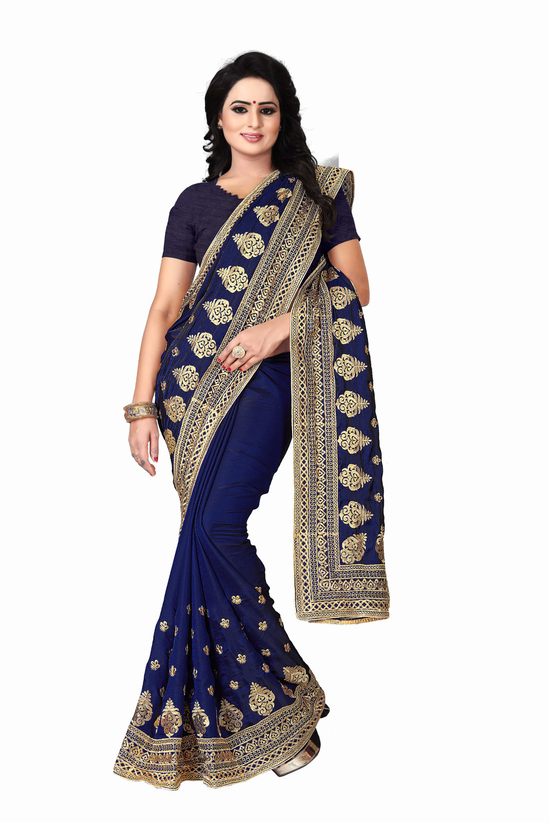 Latest Blue Embroidered Silk Saree 2019