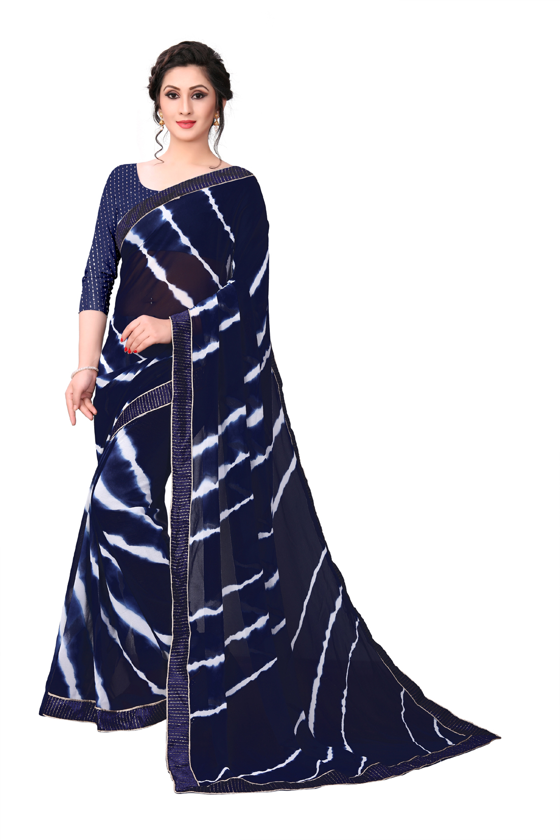 Desinger Blue Georgette Printed Saree With Blouse