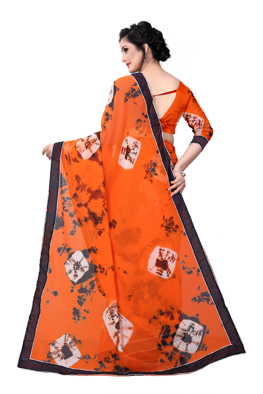 Desinger Orange Georgette Printed Saree With Blouse
