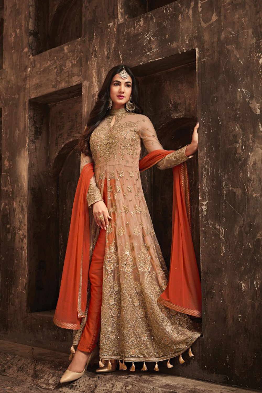 Sonal Chauhan Orange With Cream Net Top Heavy Designer Suit