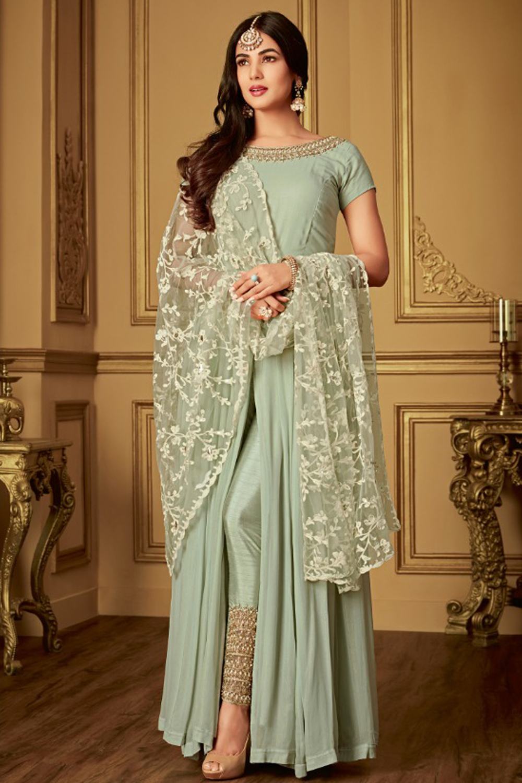 Sonal Chauhan Light Green With Cream Net Top Heavy Designer Suit