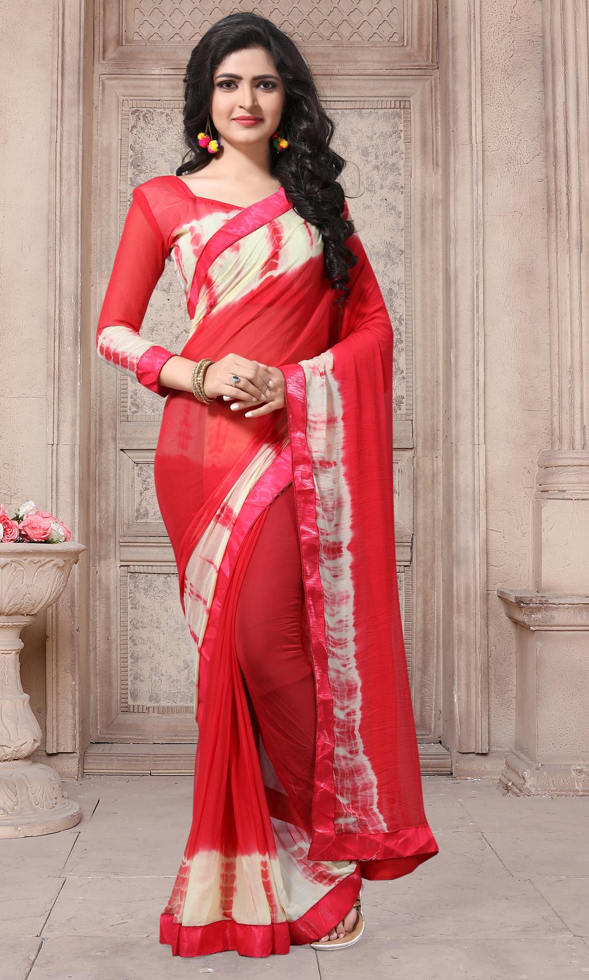 Designer Red Georgette Printed saree