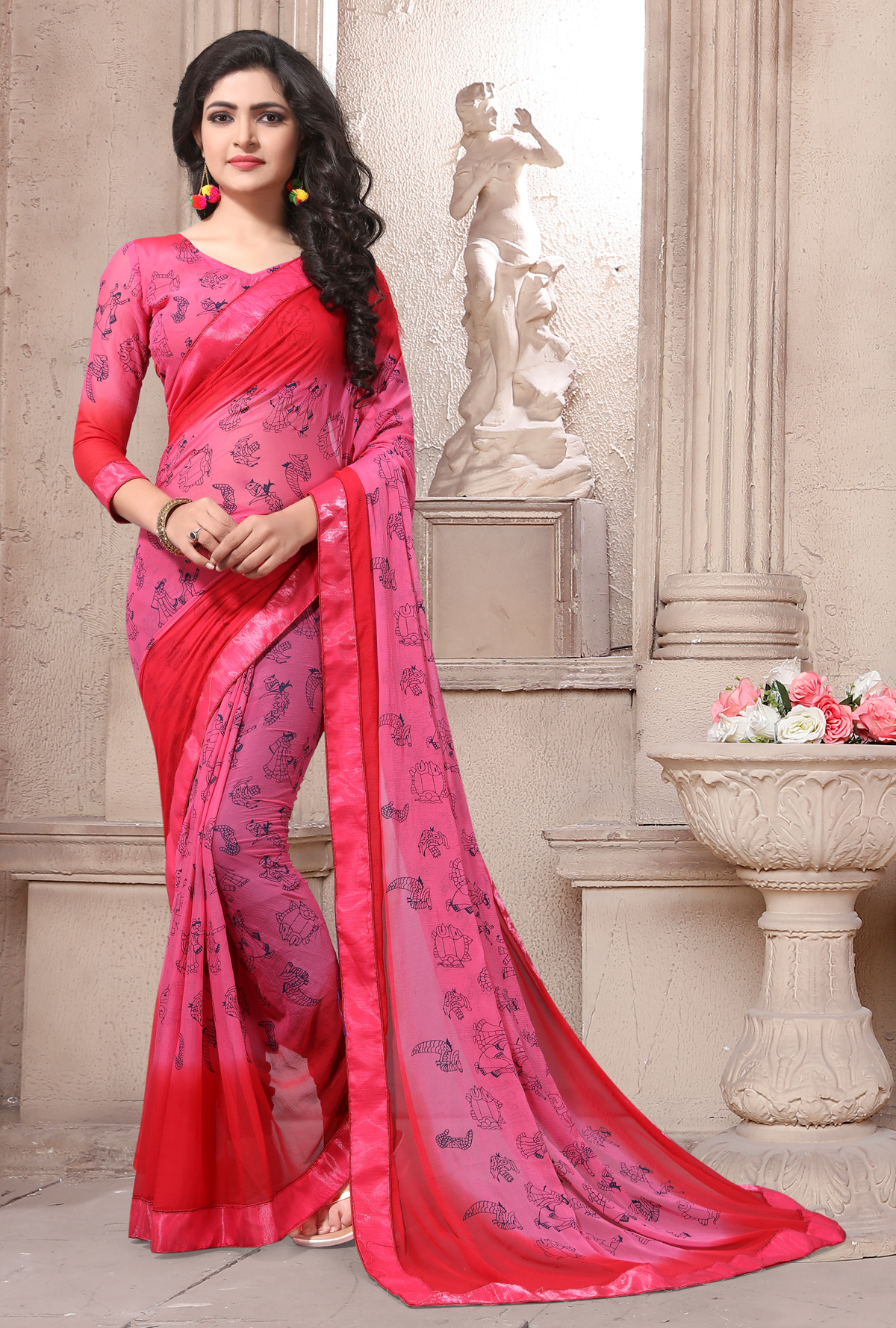 : Designer Red Georgette Printed saree