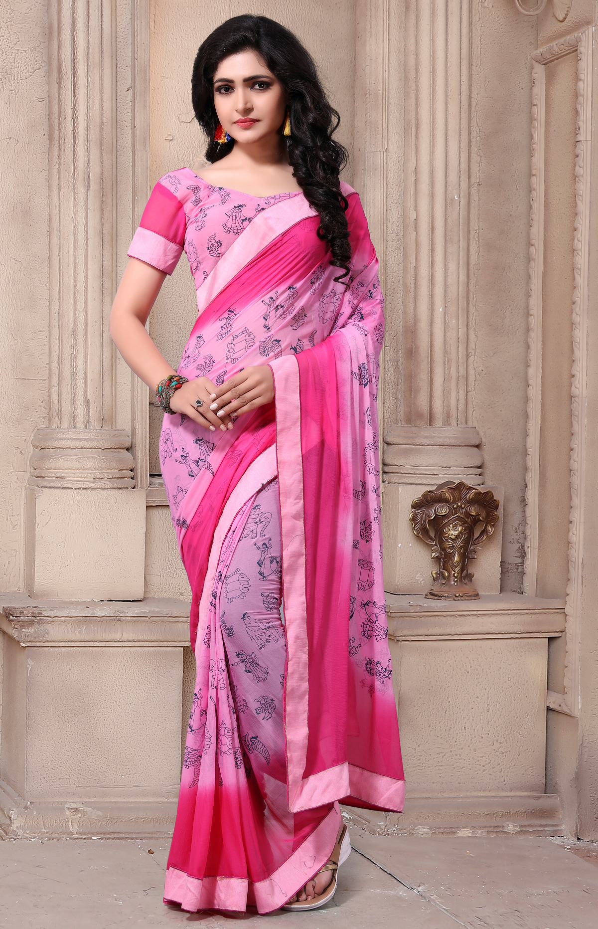 Designer Multi colors Georgette Printed saree