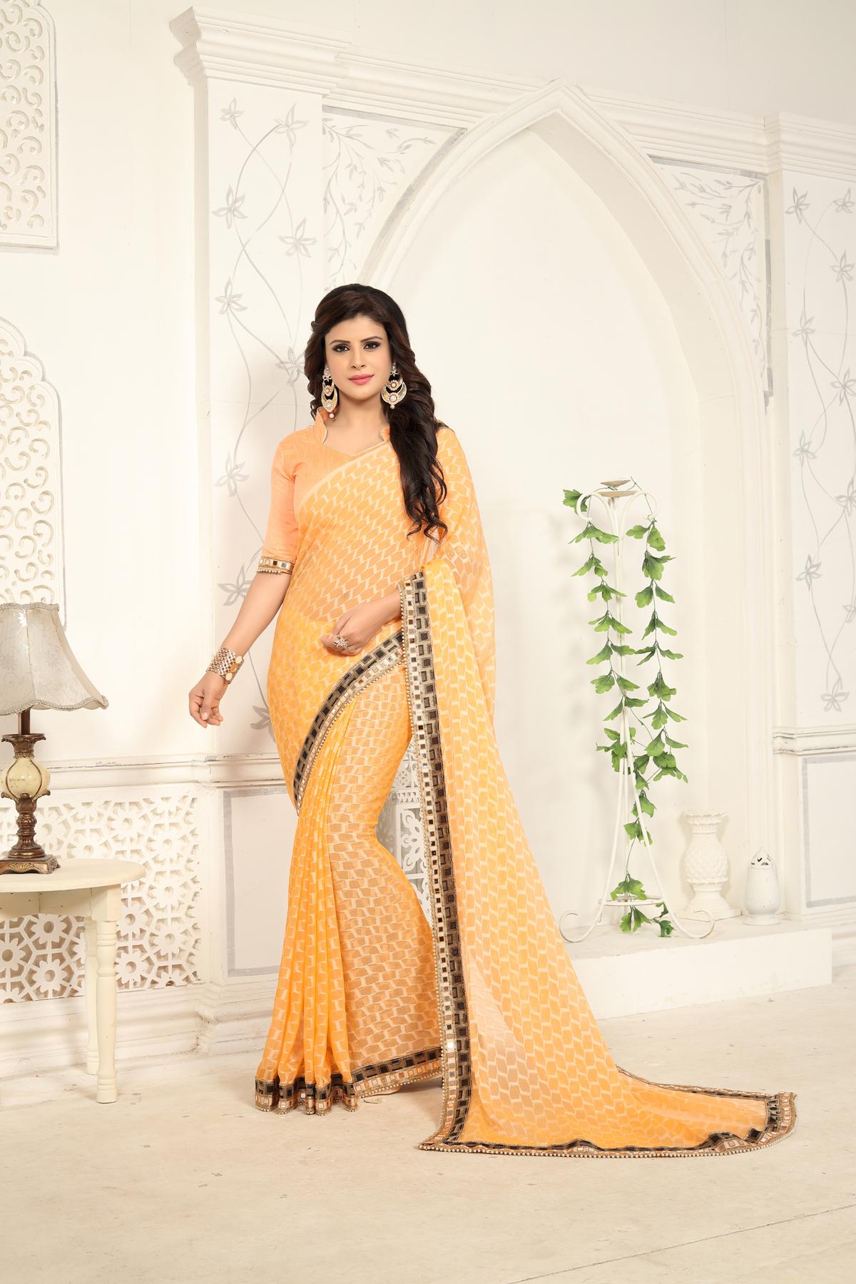 Designer Yellow Softy Jacquard Printed saree