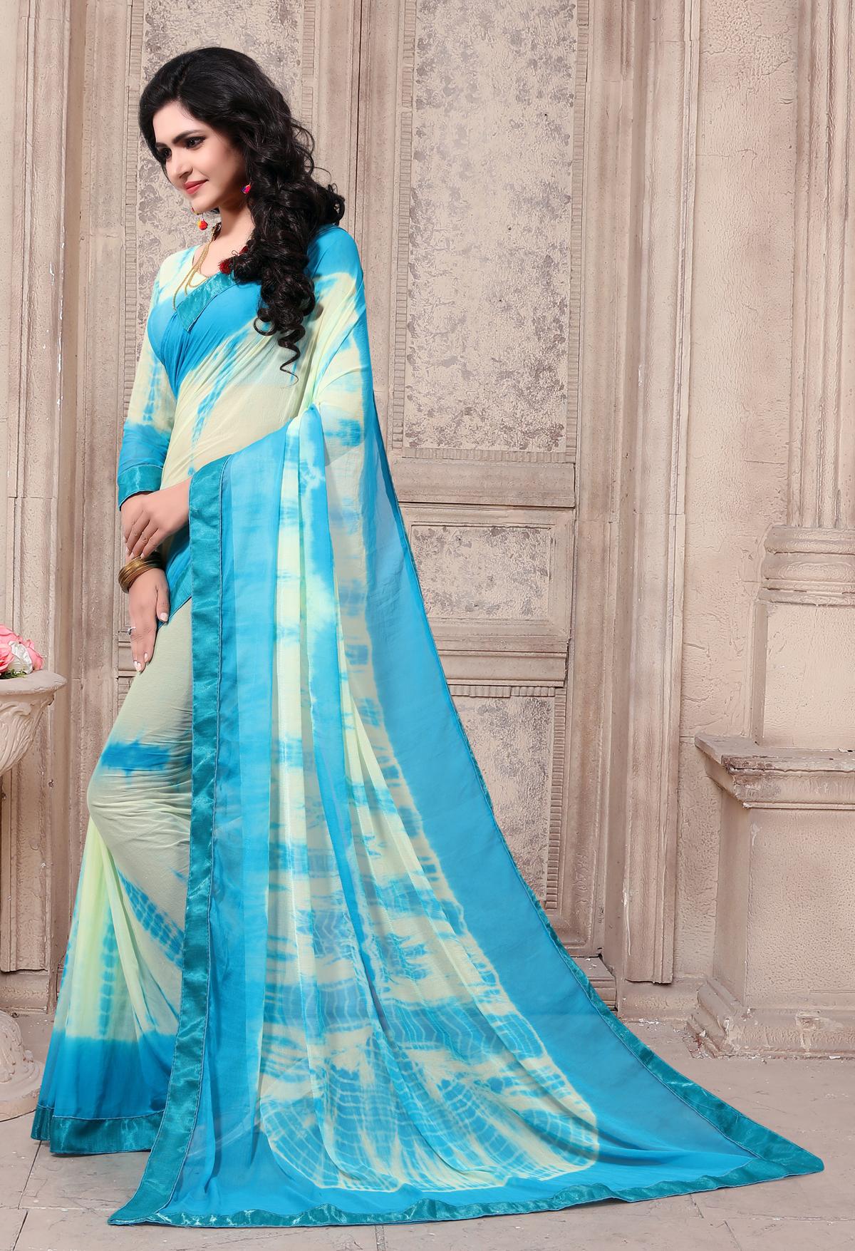 Designer Sky Blue Georgette Printed saree
