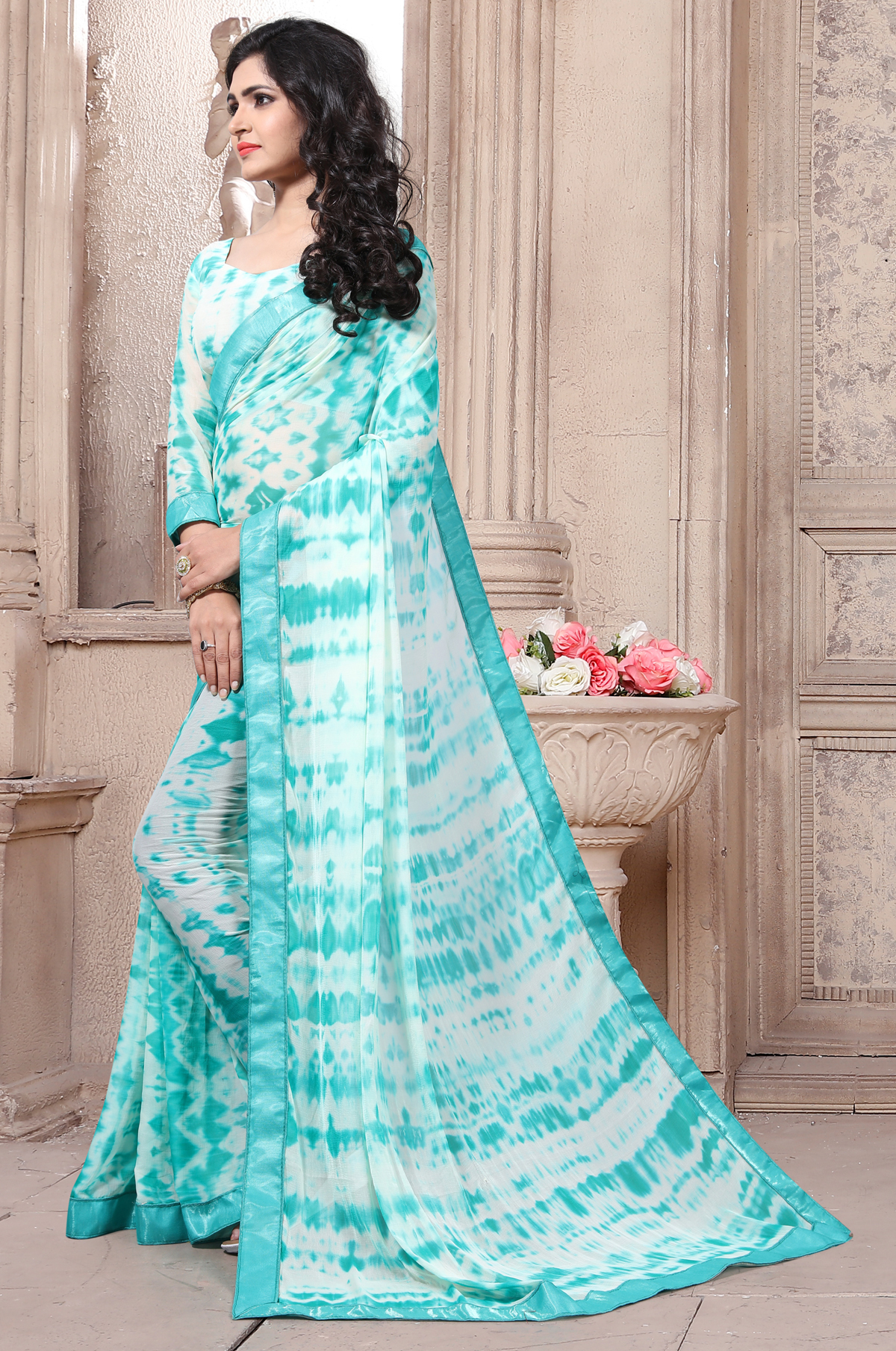 Designer Sky Blue Georgette Printed saree