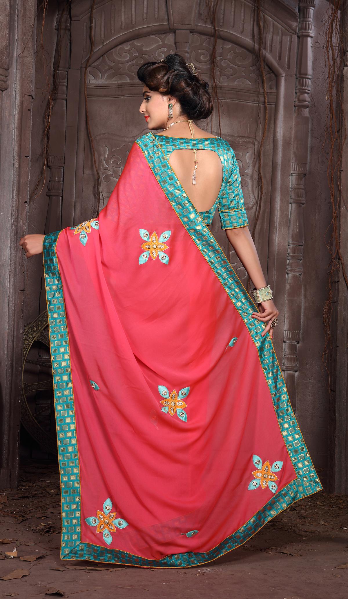 Designer Pink Rangoli Silk Printed saree