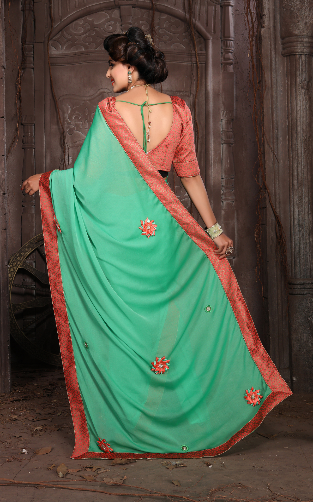 Designer Green Georgette Printed Saree