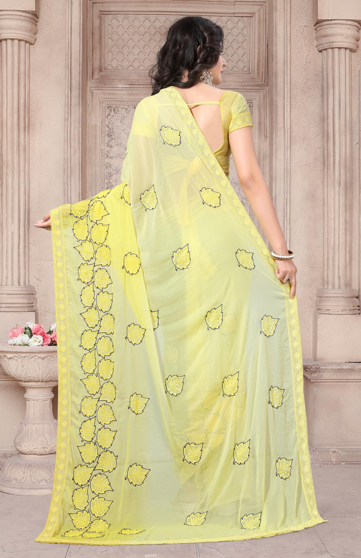 Designer Yellow Georgette Printed Saree