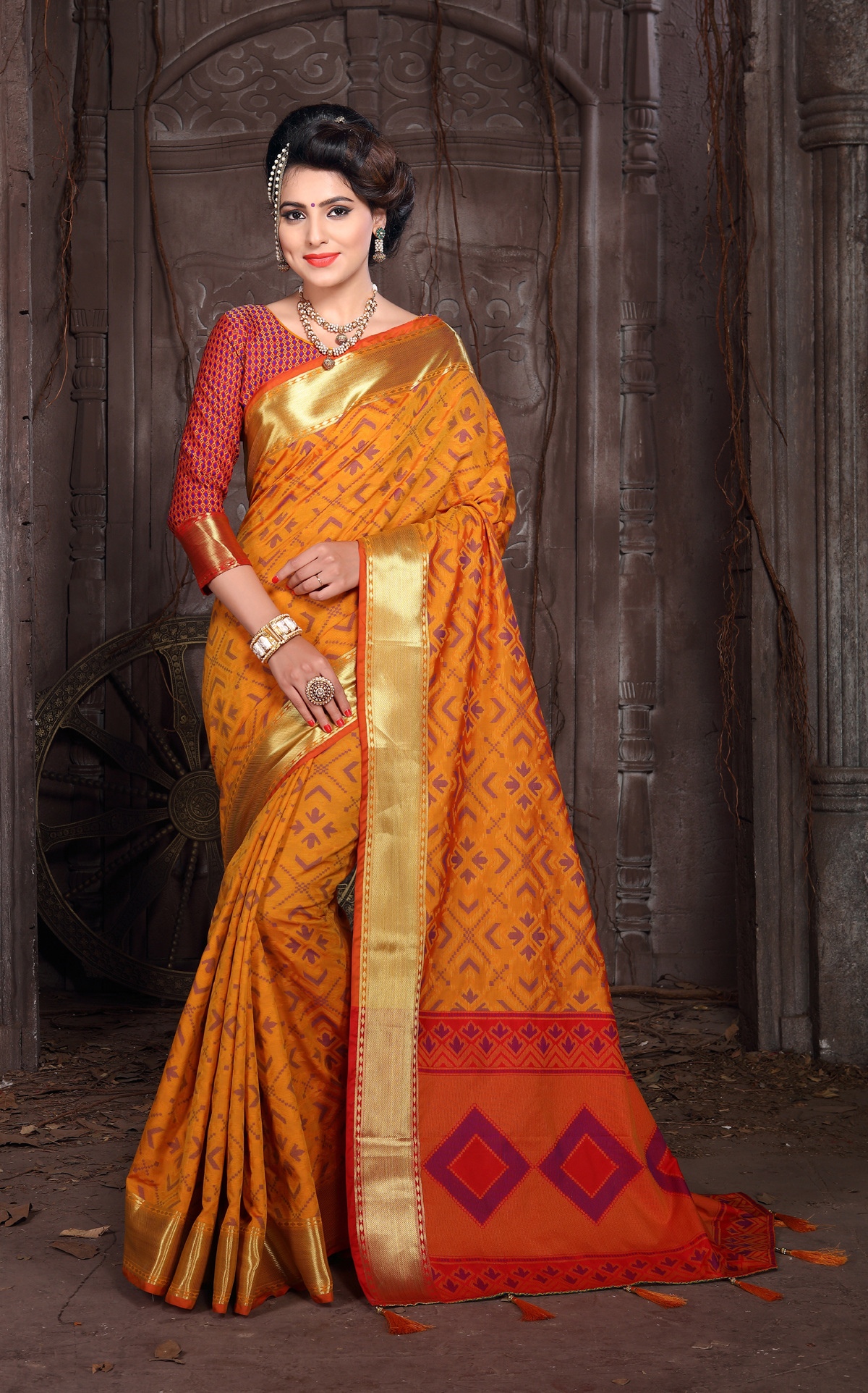 Designer Yellow And Orange Georgette Printed Saree
