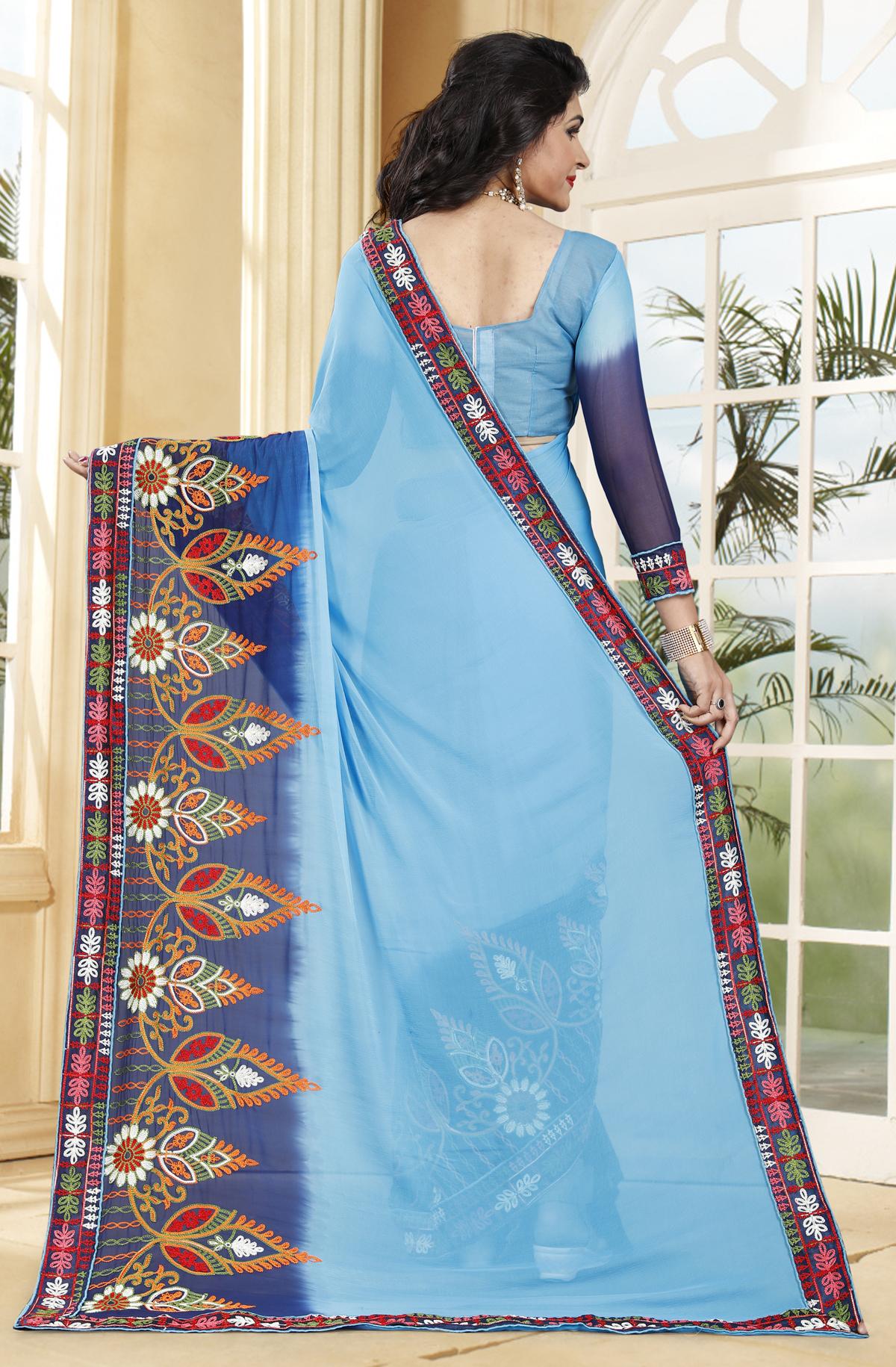Designersky Blue Georgette Printed Saree