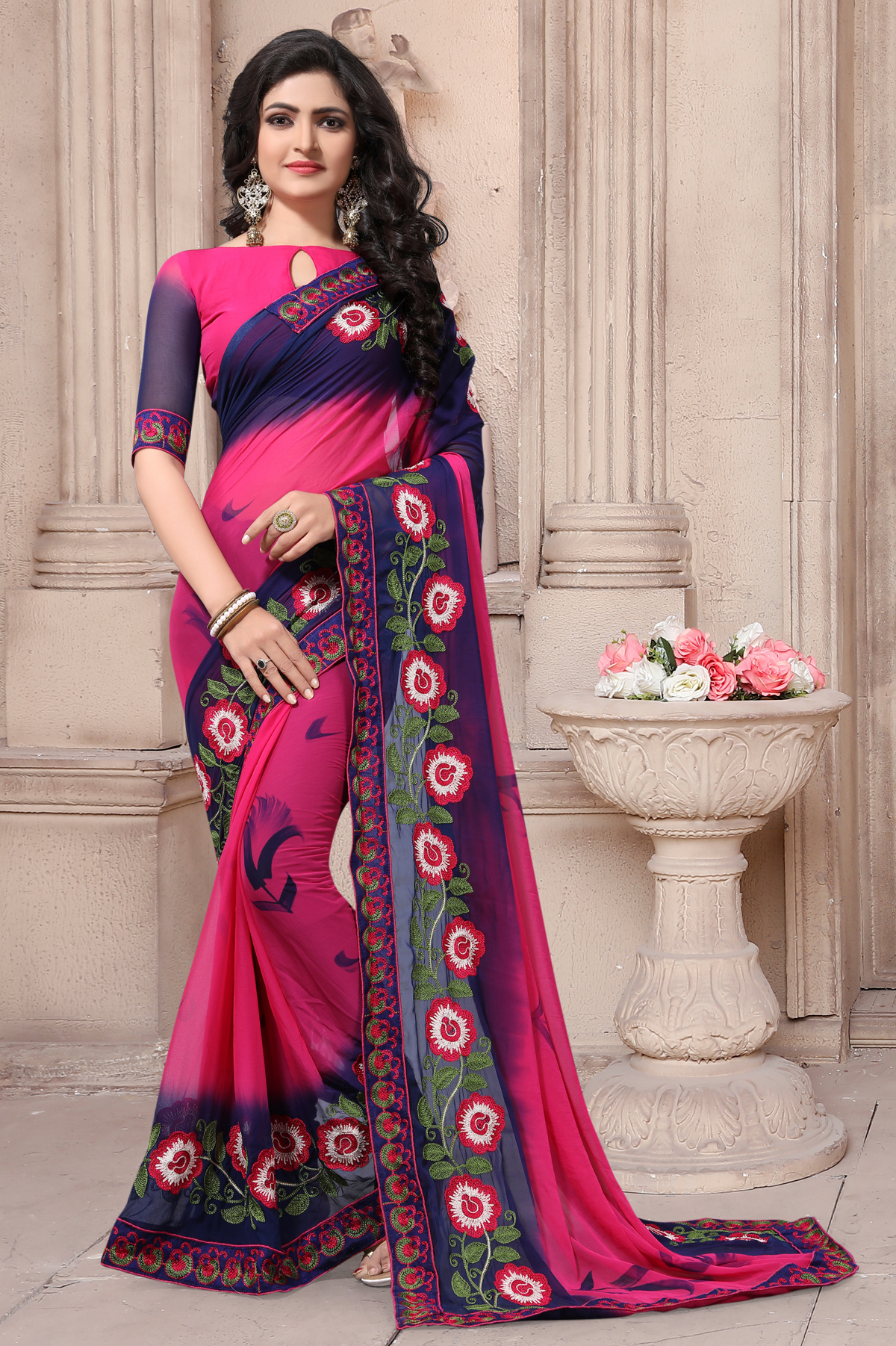 Designer Pink Georgette Printed Saree