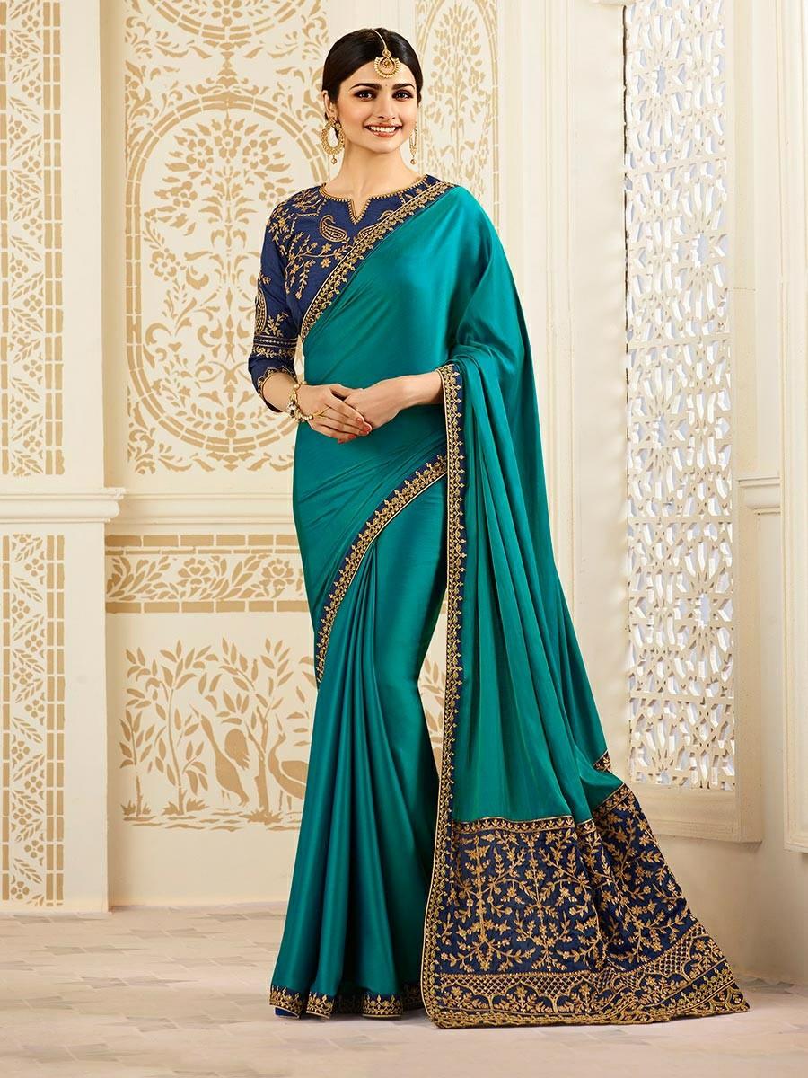 Prachi Desai Silk Blue Embroidered Saree