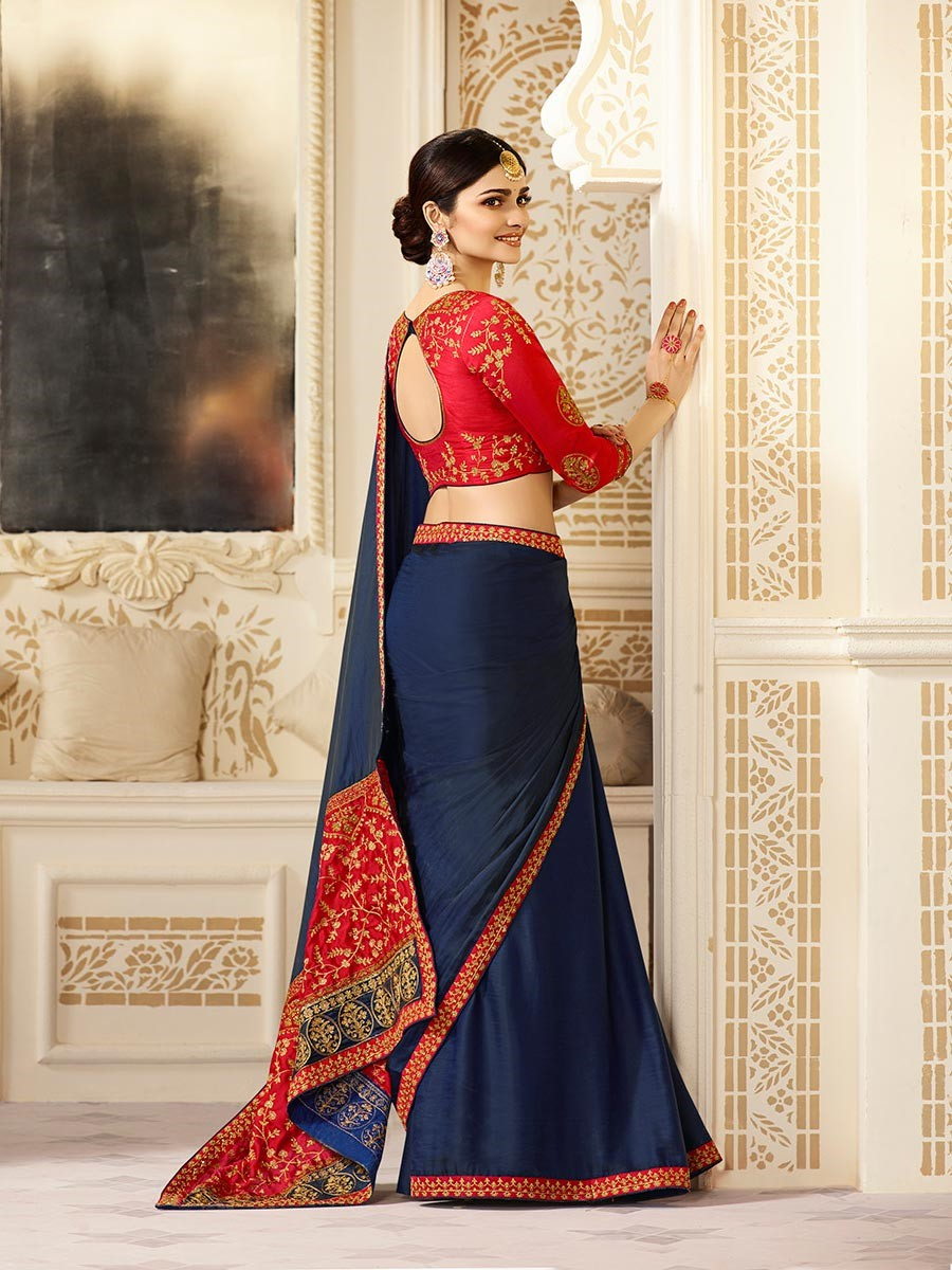 Prachi Desai Chinon Blue Plain Saree