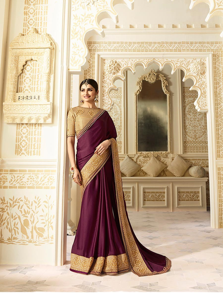 Slug  prachi-desai-embroidery-chinon-purple-plain-saree