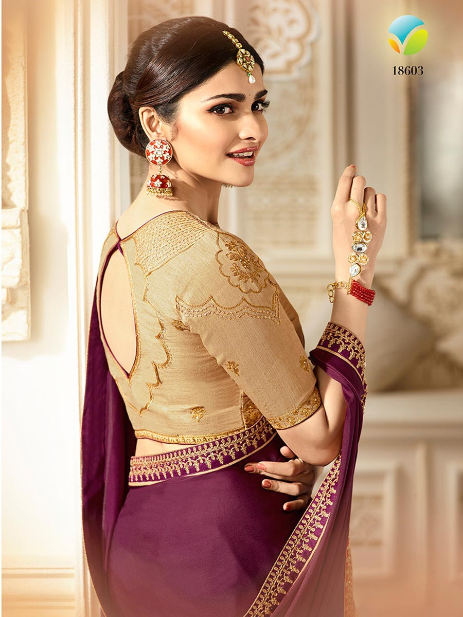 Prachi Desai Embroidery Chinon Purple Plain Saree