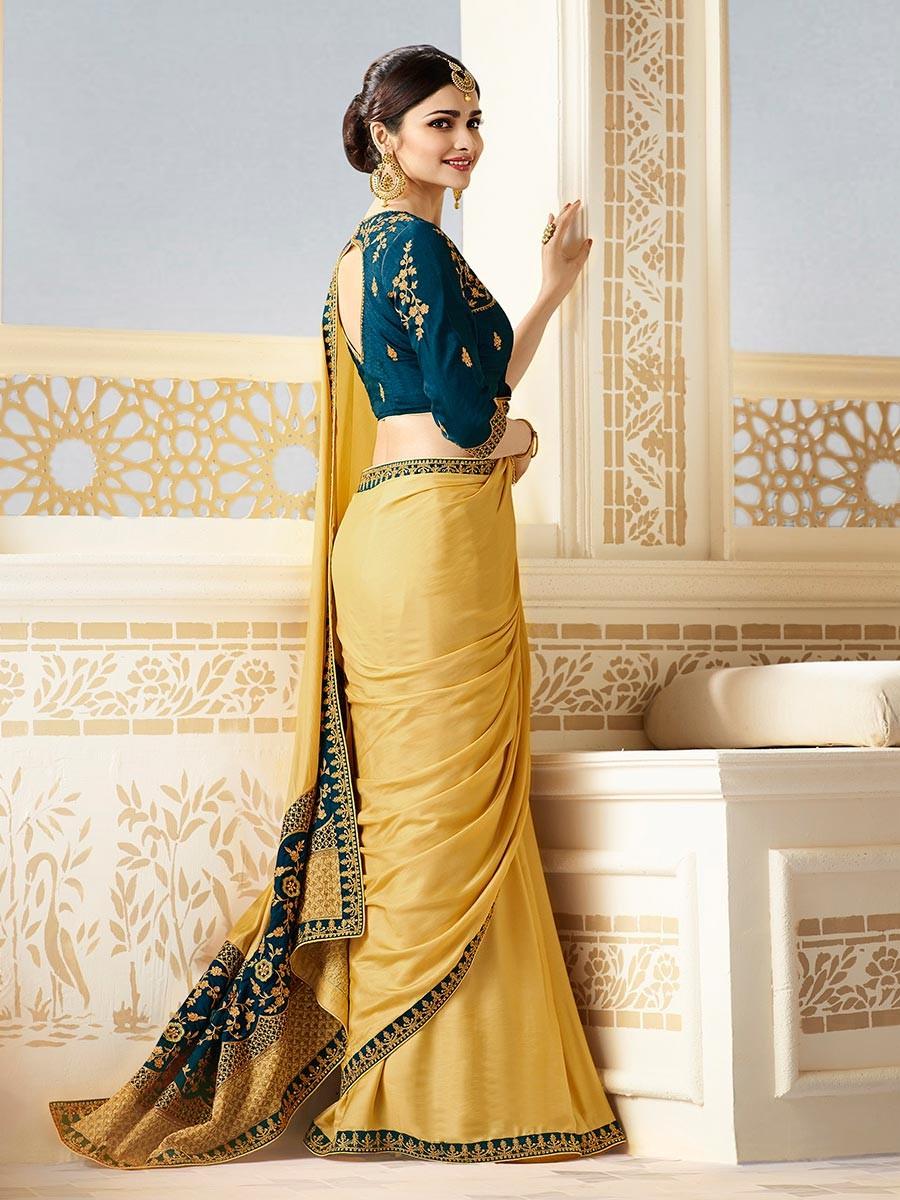 Prachi Desai Embroidery Chinon Yellow Plain Saree