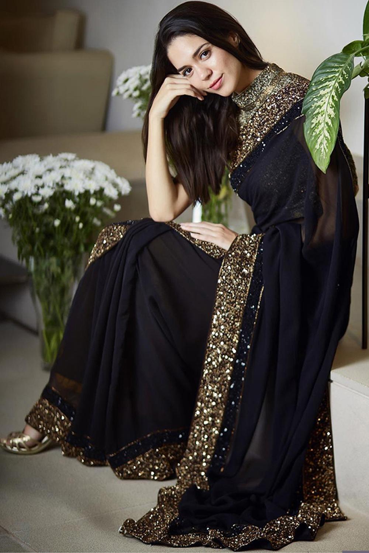 Designer Black Color Georgette Embroidery Work Saree