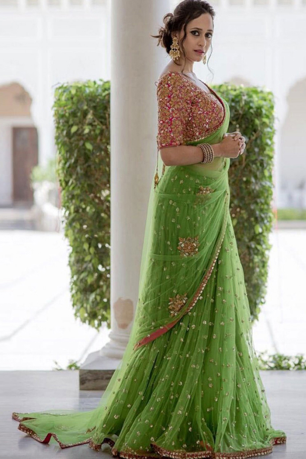 Designer Green Color Georgette Embroidery Work Saree