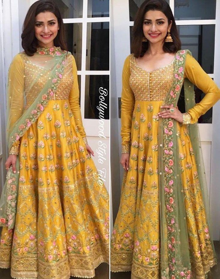 Prachi Desai Style Yellow Anarkali Suit