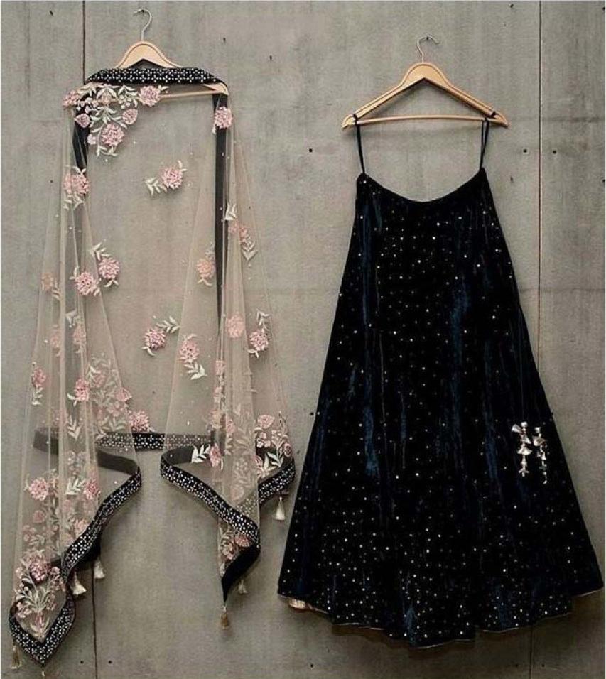 Designer Black Velvet Lehenga Choli