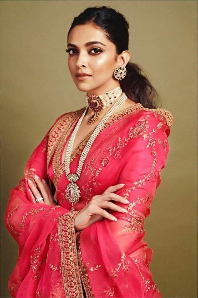 Deepika Style Red Rangoli Georgette Embroidery Work Saree