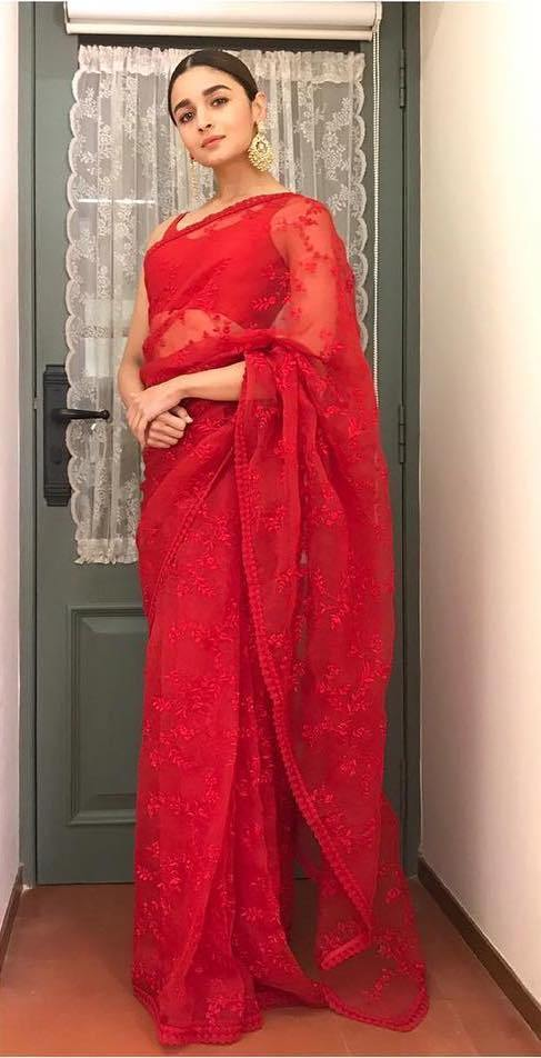 Alia Bhatt Bollywood Sabhaysachi  Chanderi Cotton Embroidered Red Saree