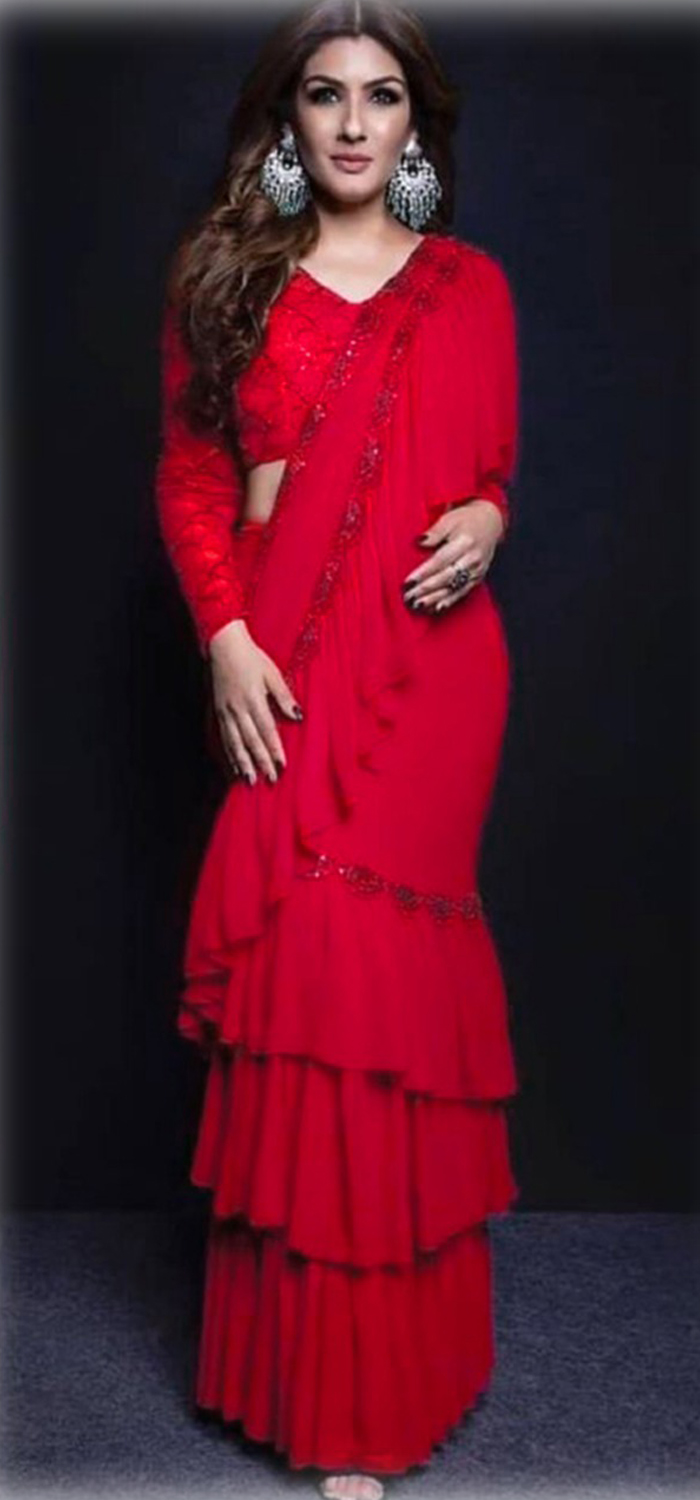 Amazing Ruffle Georgette Red Color Embroidery Saree