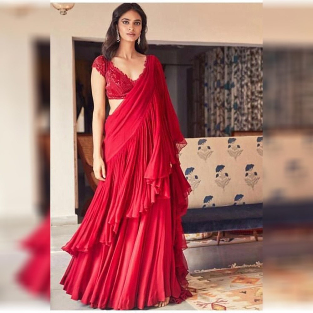 Groovy Ruffle Georgette Red Color Embroidery Saree