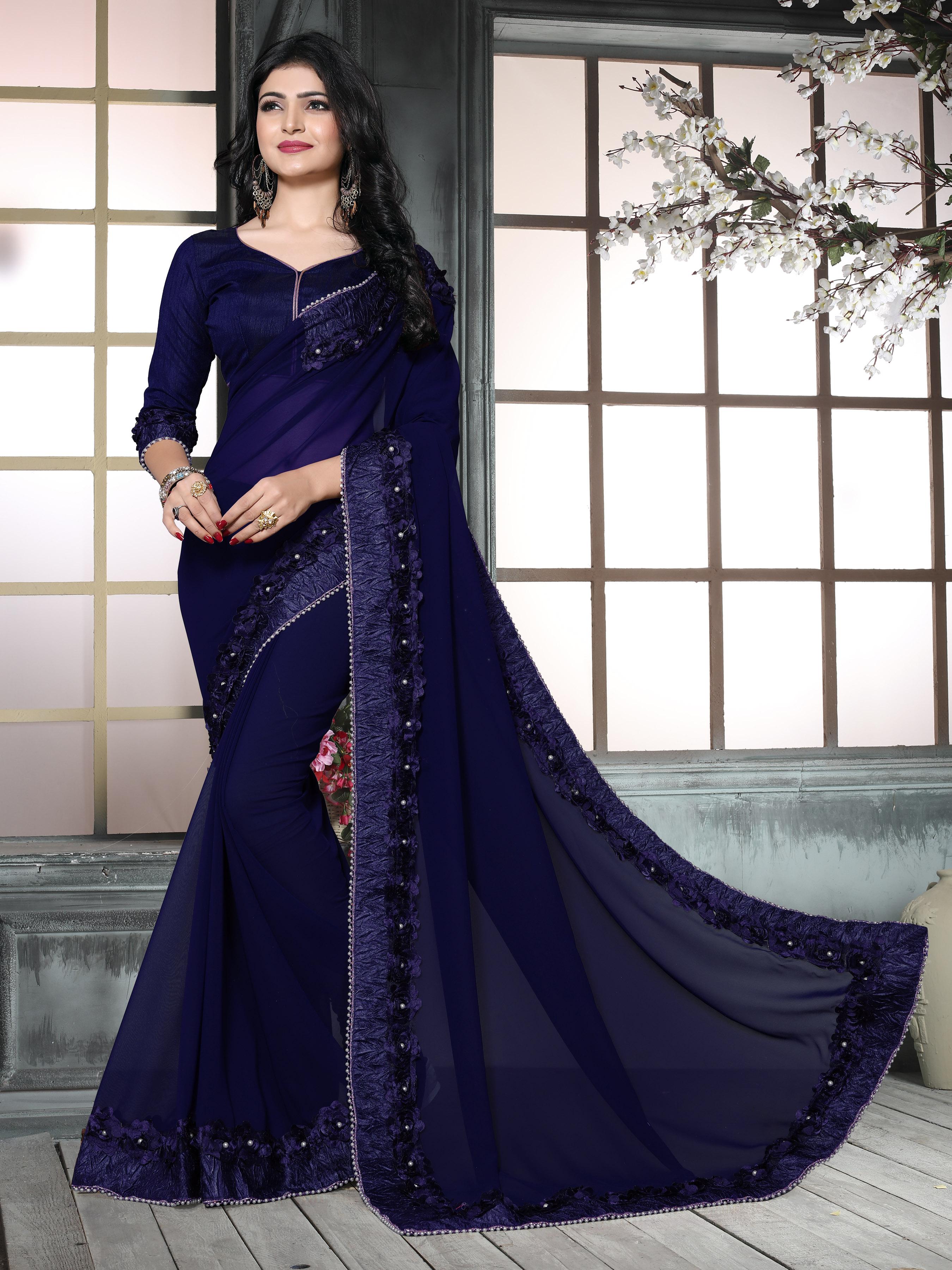 Amazing Blue color Casual Flower Lace saree