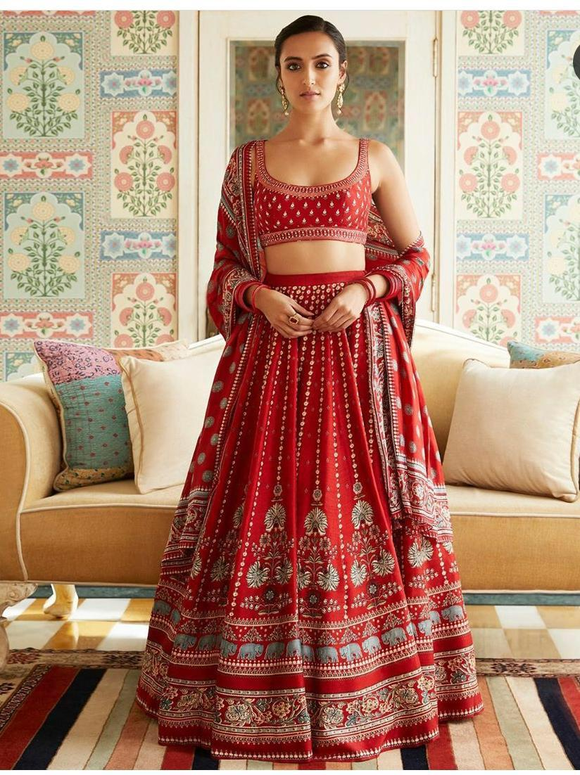 Beautiful Red Tapeta Silk Work Lehenga Choli With Border Lace