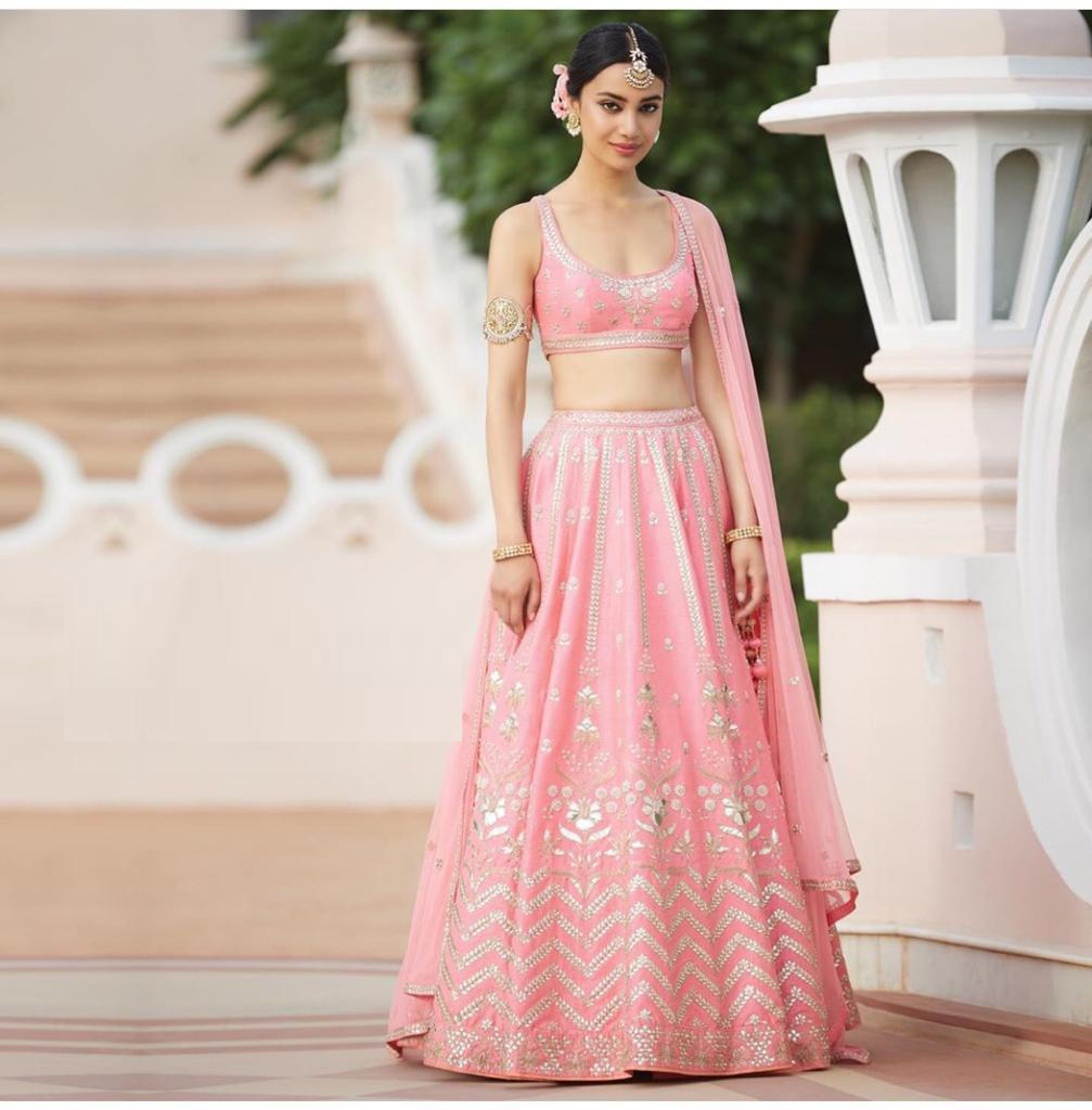 Exceptional Light Pink Colored Partywear Embroidered Tapeta Silk Lehenga Choli