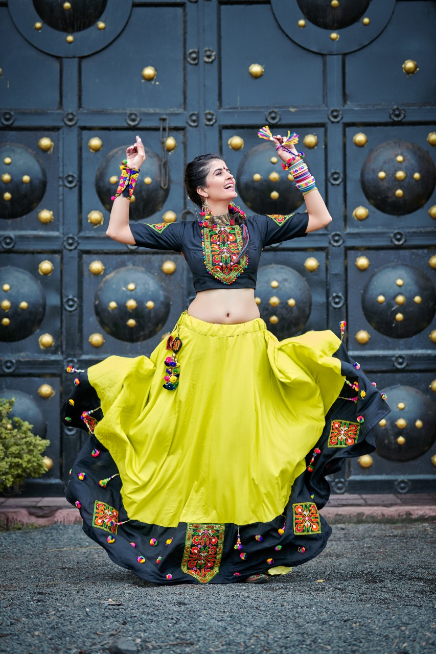 Phenomenal Navratri Special Soft Cotton Black And Green Color Lehenga choli