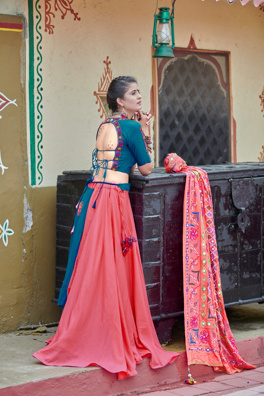 Teal Blue And Pink Color Cotton Double Layered Chaniya Choli with Resham Work