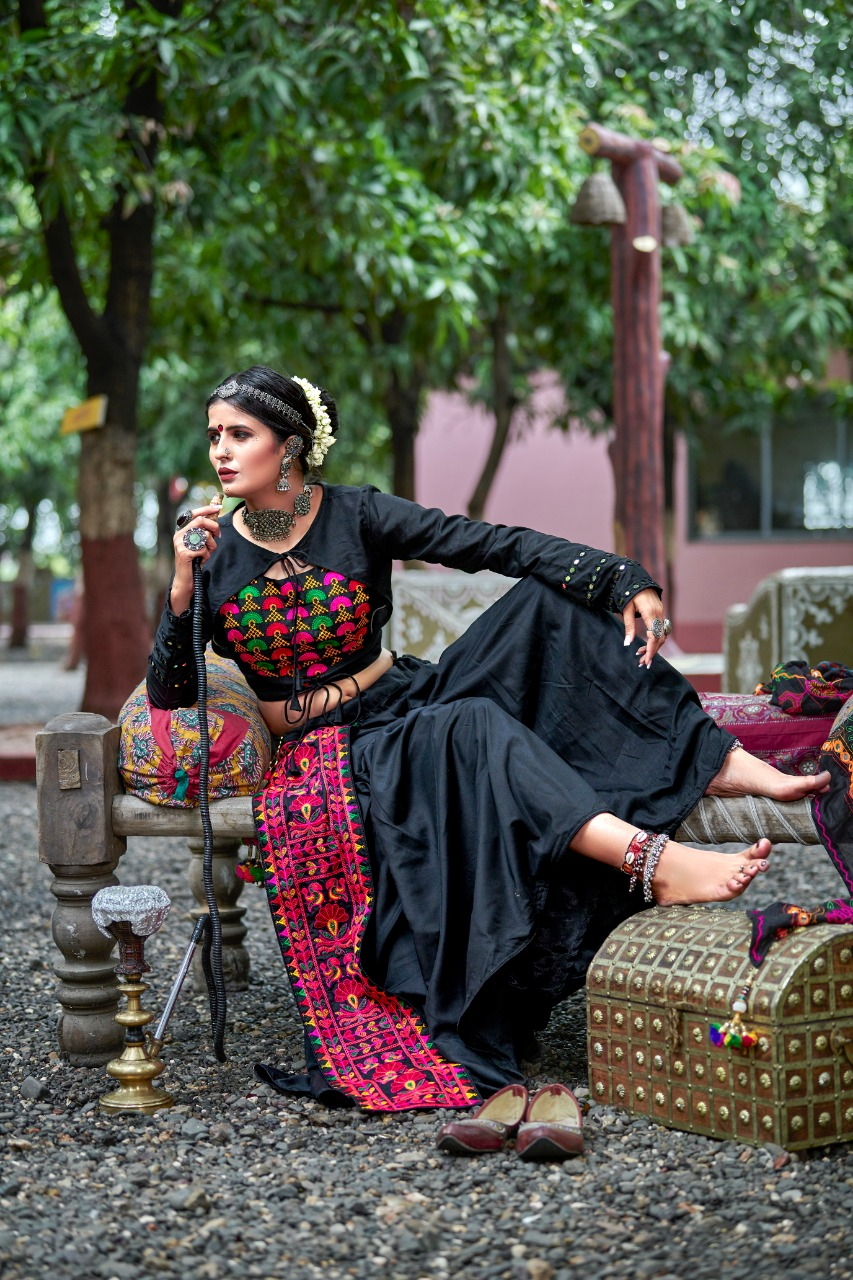Black Color Resham Work Cotton Navaratri  Special Chaniya Choli