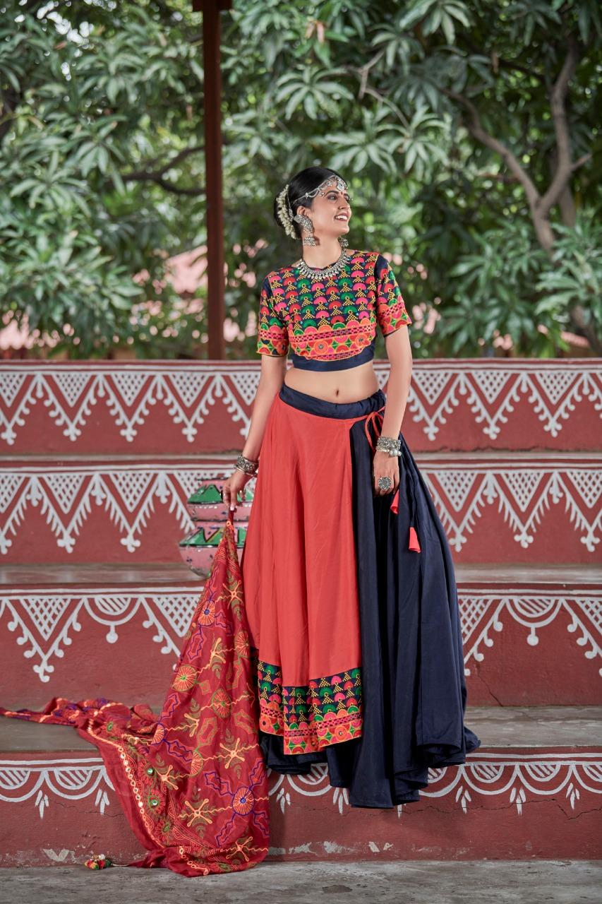 Navy Blue And Orange Color Resham Work Cotton Navaratri  Special Chaniya Choli