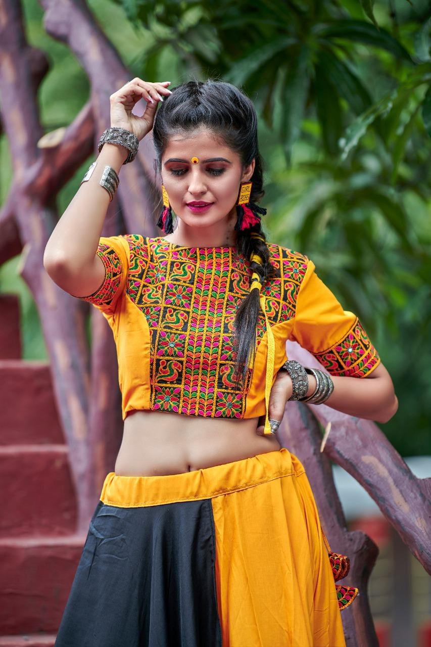 Traditional Garba Function Yellow And Black Color Cotton Chaniya Choli