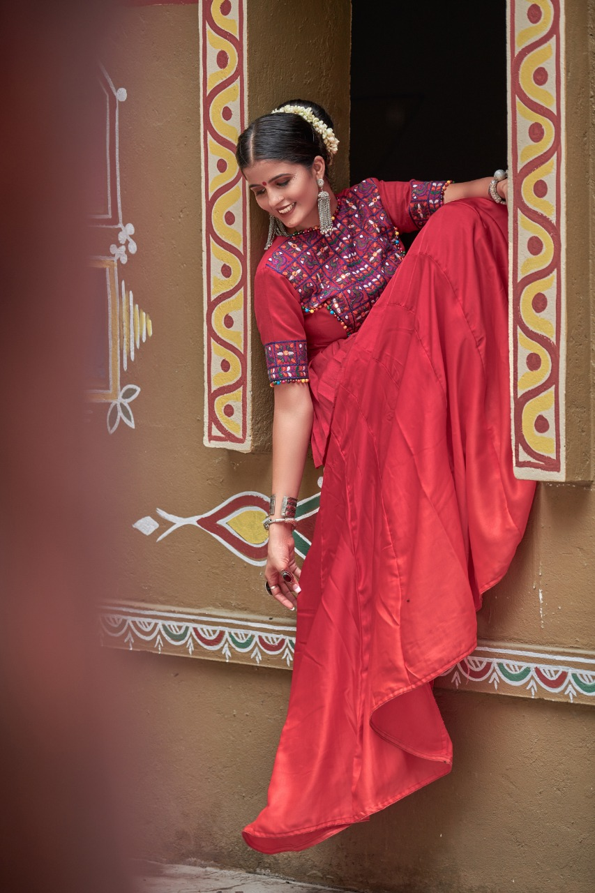 Refreshing Maroon Garba Function Chaniya Choli