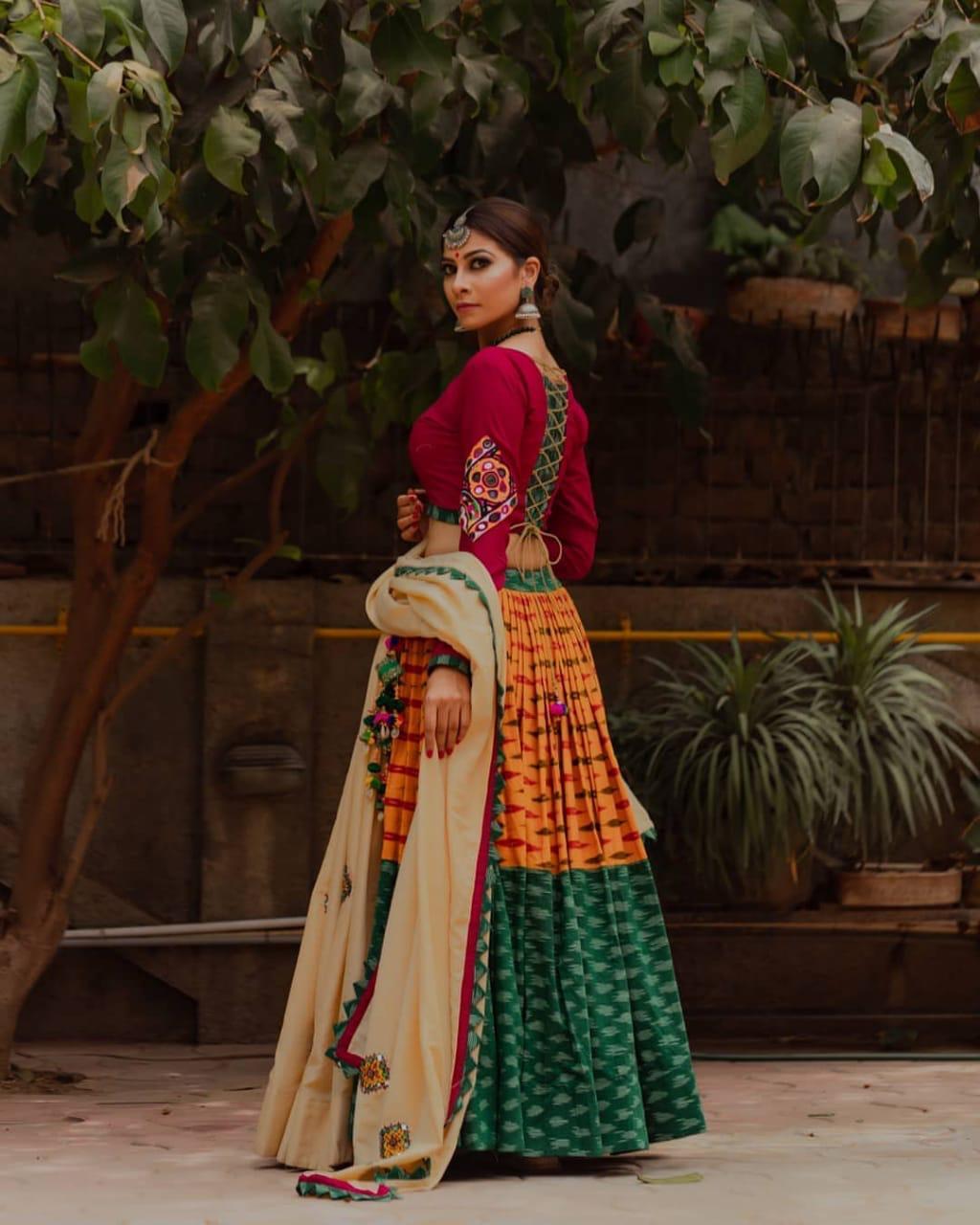 Flamboyant Garba Special Digital Print Work  Lahenga Choli