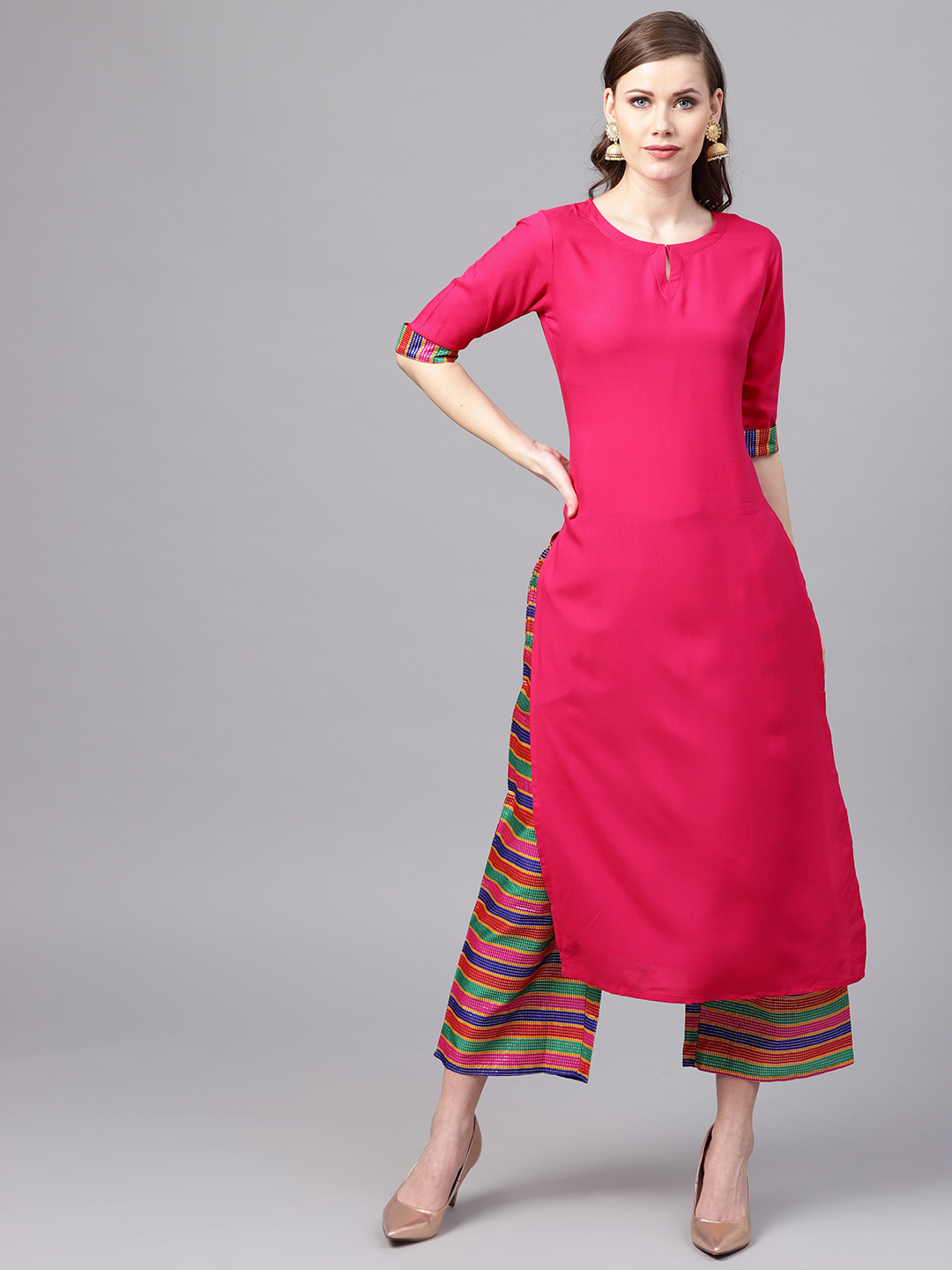 Women's New Stylish Designer Pink Rayon Kurtis With Plazzo