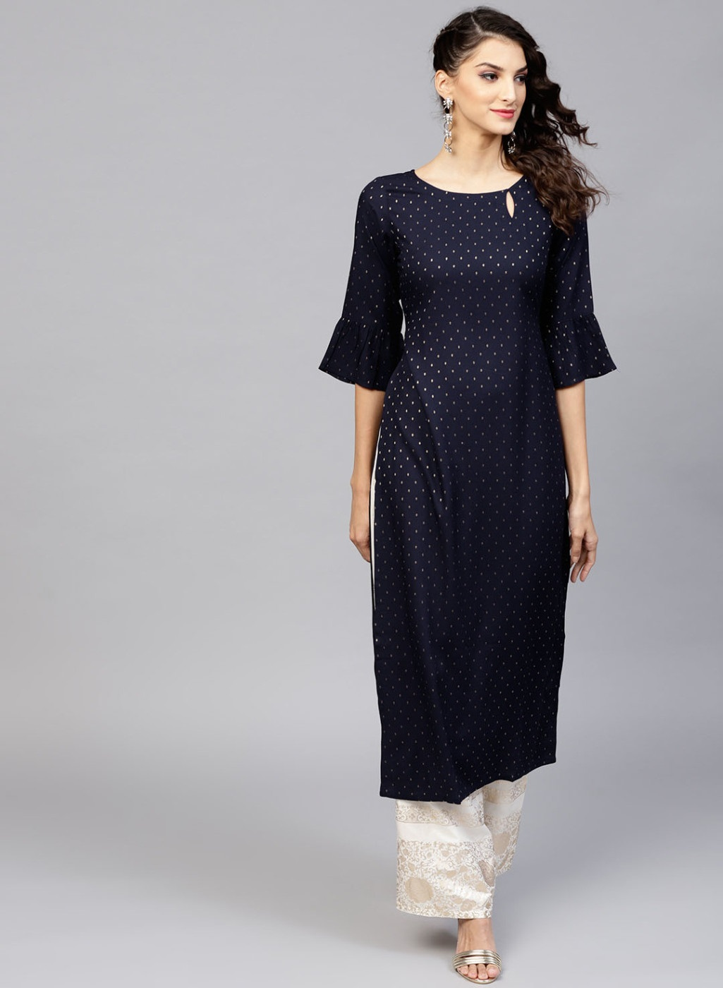 Women's New Stylish Designer Blue Rayon Kurtis With Plazzo