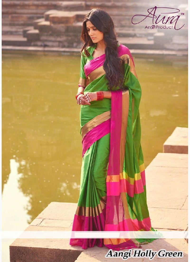 Affordable Aura Aangi Pure Cotton Silk Saree