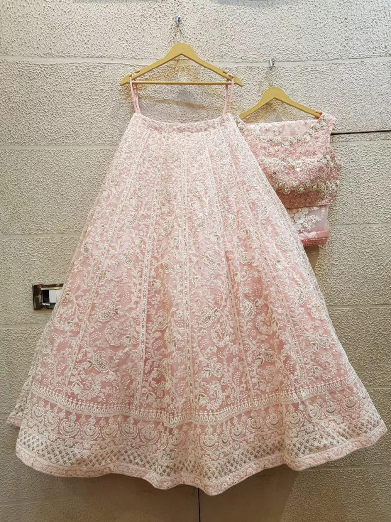 Demanding Light Pink  Color Party wear Lehenga choli